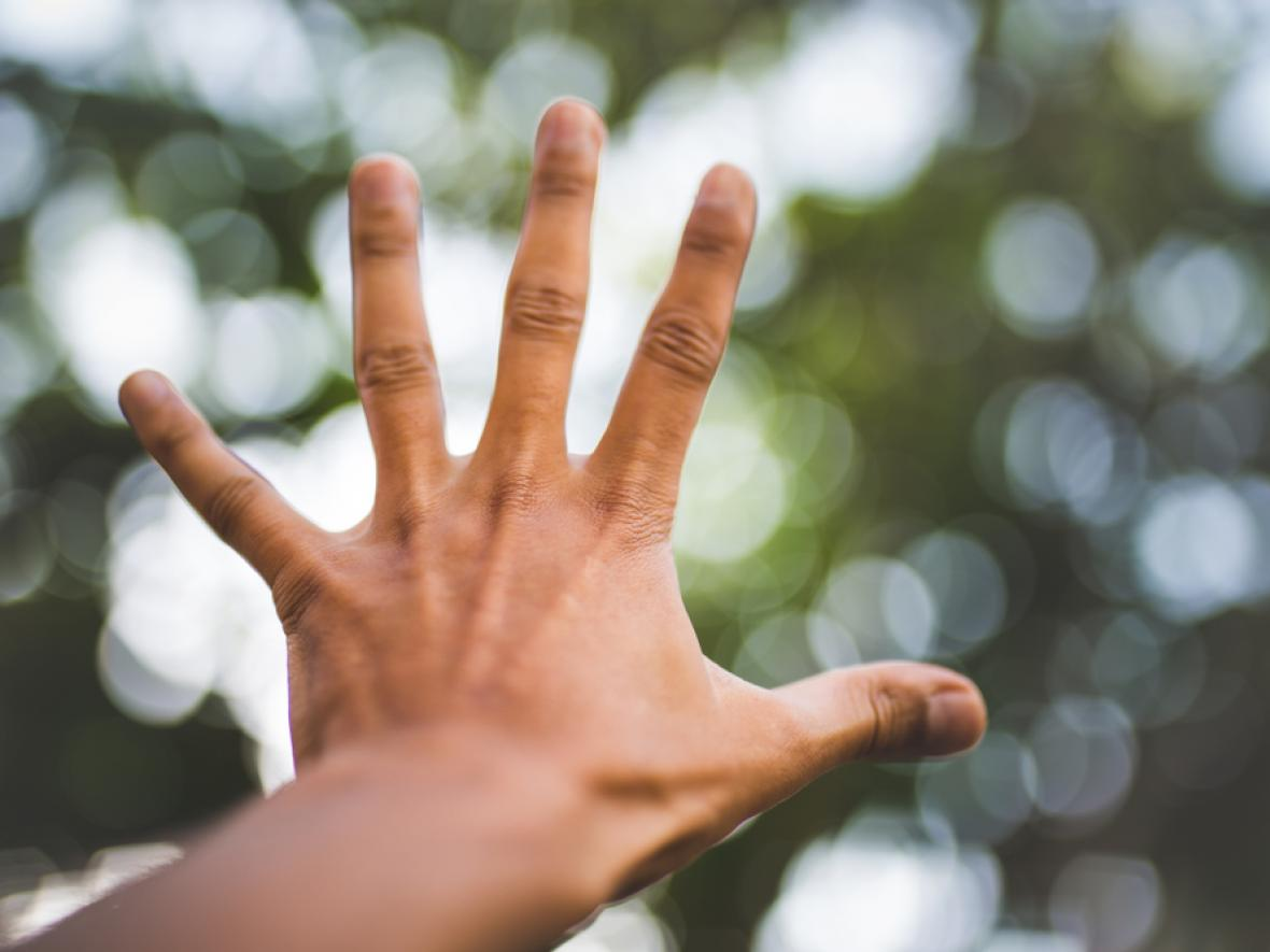 hand outstretched against blurry trees background