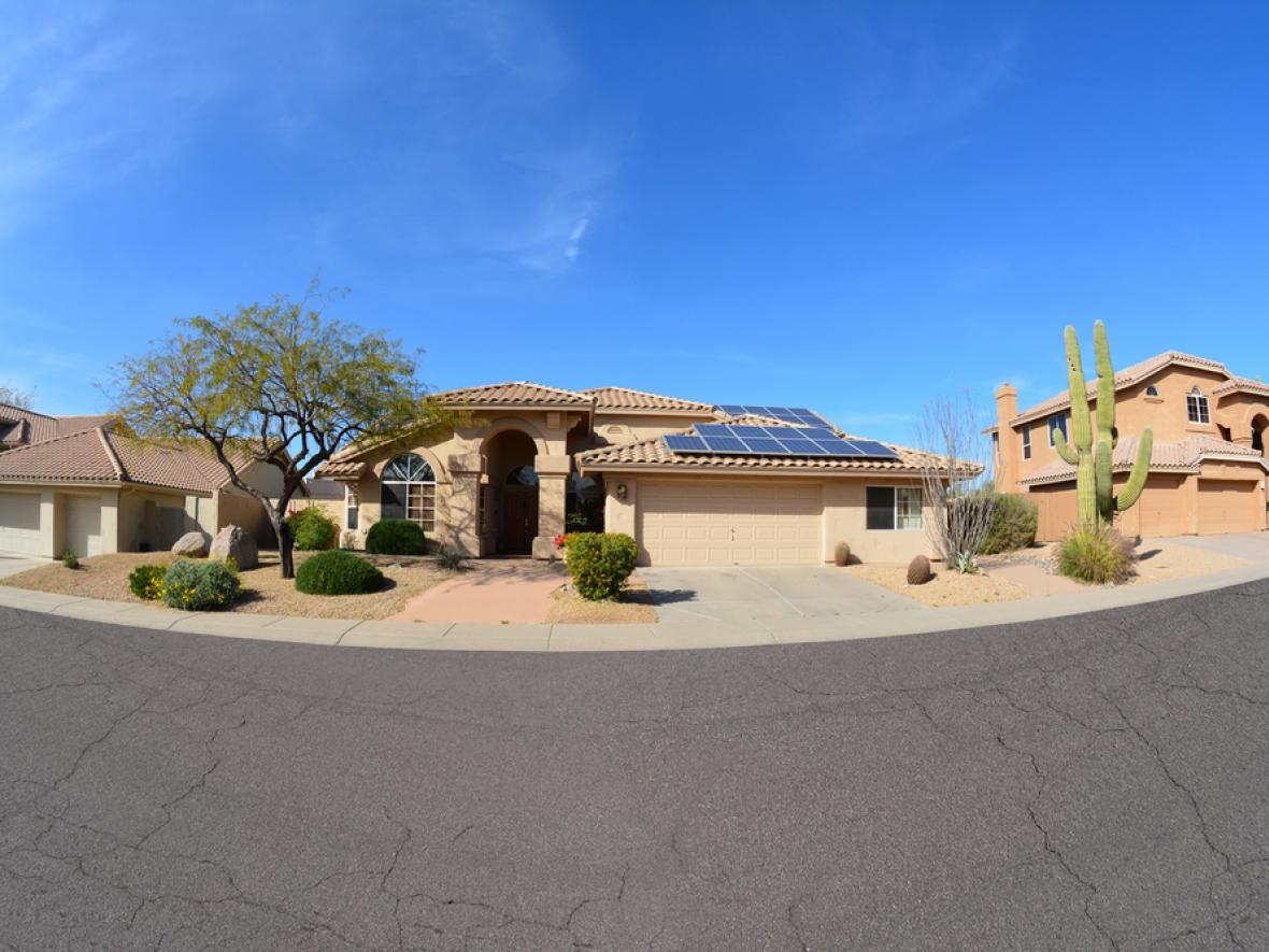arizona home, solar panels on roof