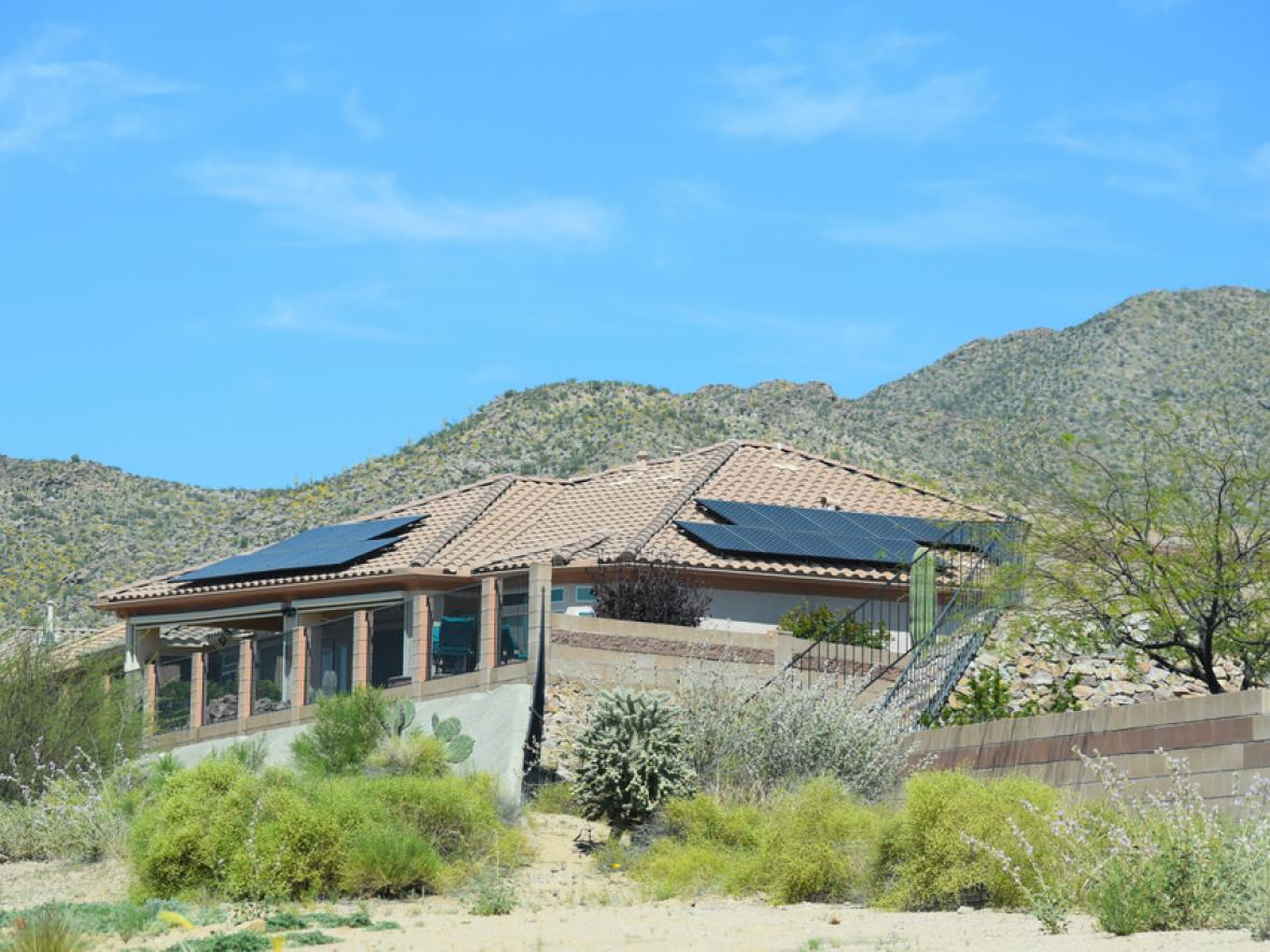 Solar panels on a roof in Arizona