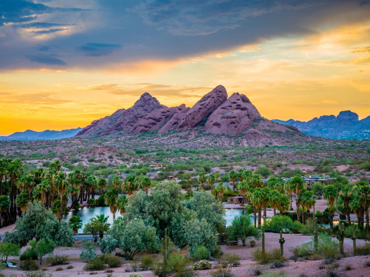 Papago Park Desert Botanical Garden Tempe Arizona at sunset