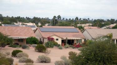 back of AZ home with solar system